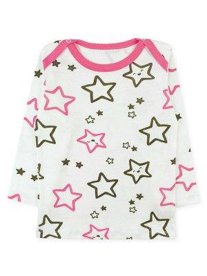 """Кофточка Цвет: Белый, Розовый; Рисунок: Звёзды; Материал: Хлопок 100%; ТИП ТКАНИ: Интерлок Отличная ясельная кофточка с набивным рисунком """"звёзды"""" по всему изделию. На плечах имеются кнопочки (по одно"""