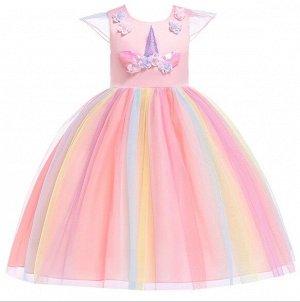 """Детское платье, розовое, с разноцветной юбкой, с аппликацией """"Единорог"""""""