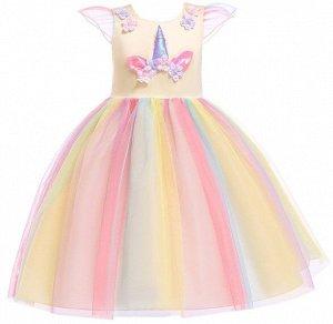 """Детское платье, желтое, с разноцветной юбкой, с аппликацией """"Единорог"""""""