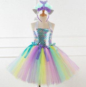 """Детское платье, разноцветное , """"Русалка"""""""