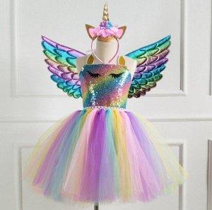 Детское платье, разноцветное, со светлыми цветными крыльями