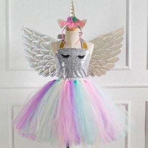 Детское платье, разноцветное, с серебряными крыльями