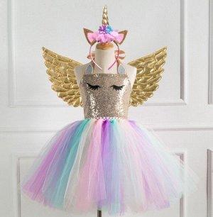 Детское платье, разноцветное, с золотыми крыльями