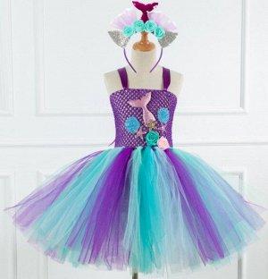 Детское платье, фиолетовое и голубое, с ободком для волос