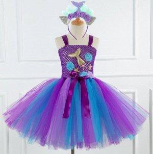 Детское платье, фиолетовое и синее, с ободком для волос