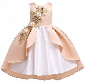 Детское платье, бежевое, с цветочным узором