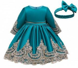 Детское платье, цвет морской волны, с гипюром