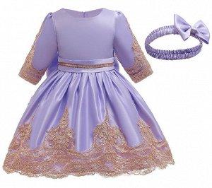 Детское платье, светло-фиолетовое, с гипюром