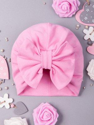 Чалма трикотажная для девочки с бантом, розовый