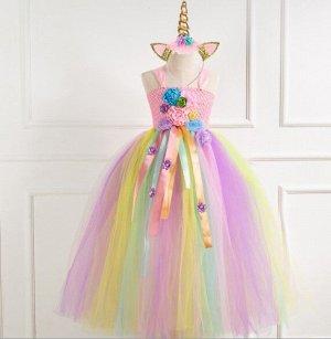 """Детское платье, разноцветное светлое, с цветами, """"Я люблю единорогов"""""""