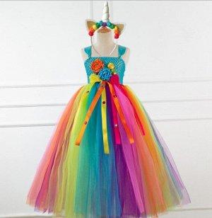 """Детское платье, разноцветное яркое , с цветами, """"Я люблю единорогов"""""""