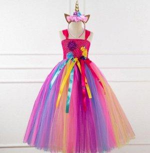 """Детское платье, розовое и разноцветное, с цветами, """"Я люблю единорогов"""""""