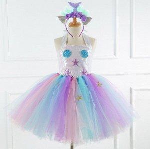 Детское платье, белое и разноцветное, со звездами