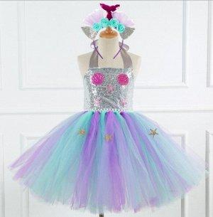 Детское платье, серебряное и разноцветное, со звездами
