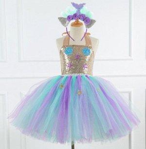 Детское платье, золтое и разноцветное, со звездами