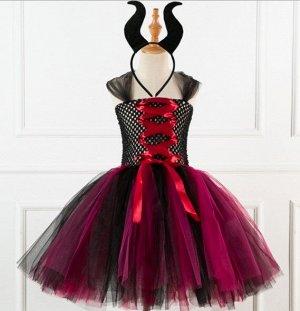 """Детское платье, черное и красное, """"Малефисента"""""""