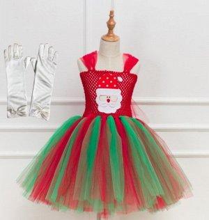 """Детское платье, зеленое и красное, с принтом"""" Дед Мороз""""  и перчатками"""