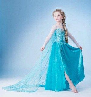"""Детское платье, голубое, со шлейфом,  """"Холодное сердце"""""""