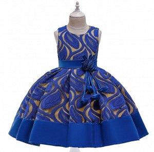 Детское платье, синее, с узором
