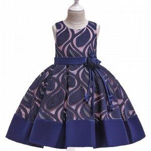 Детское платье, темно-синее, с узором