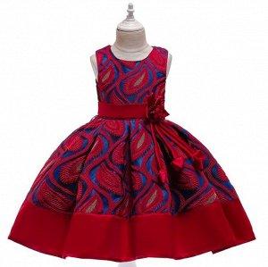Детское платье, красное, с узором