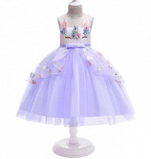Детское платье, фиолетовое, с аппликациями