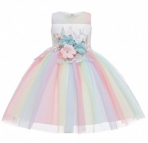Детское платье, с разноцветной юбкой