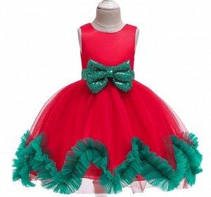 Детское платье, красное, с зеленым бантом