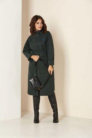 Пальто Пальто Andrea Style 00274 бутылка  Состав ткани: ПЭ-98%; Спандекс-2%;  Рост: 170 см.  Удлиненное женское пальто на подкладке изготовлено из текстильного ворсового полотна –драпа. Силуэт