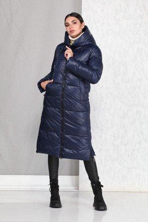 Пальто Пальто Beautiful&Free 4005 синий  Состав ткани: ПЭ-100%;  Пальто женское, демисезонное, из гладкокрашеной полиэфирной ткани, с утепляющей подкладкой из 2-х слоев синтепона, на притачной подкла