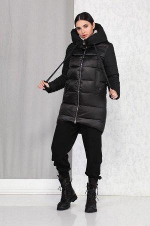 Пальто Пальто Beautiful&Free 4009 черный  Состав ткани: ПЭ-100%;  Полупальто женское, демисезонное, из гладкокрашеной полиэфирной ткани, с утепляющей подкладкой из 2-х слоев синтепона, на притачной п