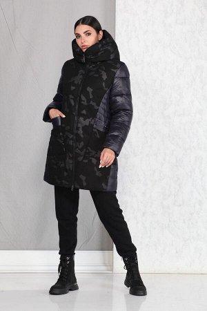 Пальто Пальто Beautiful&Free 4012 синий/милитари  Состав ткани: ПЭ-100%;  Полупальто женское, комбинированное, со вставками типа «милитари», демисезонное, из хлопкополиэфирной ткани, с ут
