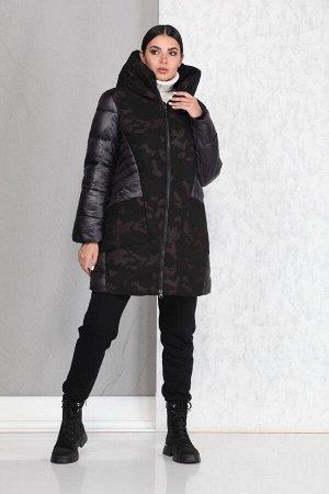 Пальто Пальто Beautiful&Free 4012 черный/милитари  Состав ткани: ПЭ-100%;  Полупальто женское, комбинированное, со вставками типа «милитари», демисезонное, из хлопкополиэфирной ткани, с у