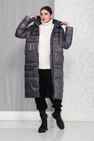 Пальто Пальто Beautiful&Free 4013 серый  Состав ткани: ПЭ-100%;  Пальто женское, демисезонное, из гладкокрашеной полиэфирной ткани, с утепляющей подкладкой из синтепона, на притачной подкладке.  Синт