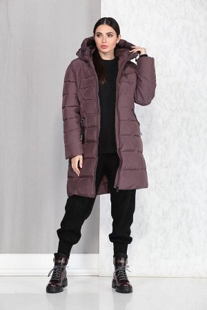 Пальто Пальто Beautiful&Free 4004 темно-розовый  Состав ткани: ПЭ-100%;  Полупальто женское, зимнее, из гладкокрашеной хлопкополиэфирной ткани, с утепляющей подкладкой из 2-х слоев синтепона, на прит