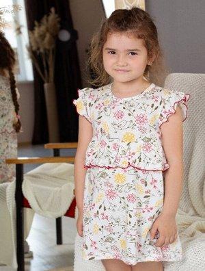 Платья Цвет: молочный/желтый/ , для девочки, состав: 85%хлопок 15%полиамид