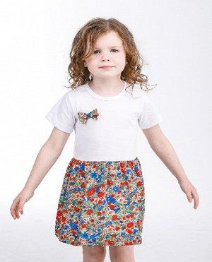 Платья Цвет: белый/красный/бежевый/ , для девочки, состав: 85%хлопок 15%полиамид
