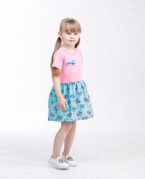 Платья Цвет: бирюзовый/розовый/ , для девочки, состав: 85%хлопок 15%полиамид