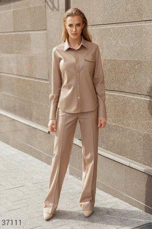 Бежевый кожаные брюки со стрелками