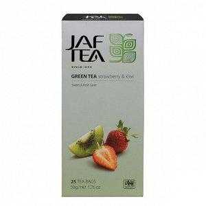 Чай зеленый пакет. jaf tea strawberry & kiwi sc 25*2г