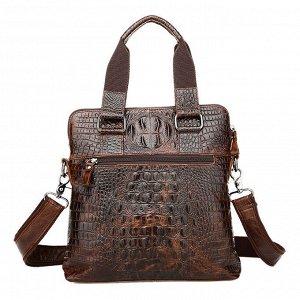 Tsezon Многофункциональная мужская стильная сумка , с вместительным отделением закрытым на молнию из натуральной кожи, стилизованным под кожу крокодила. Внутри вместительное отделение для наличных ден