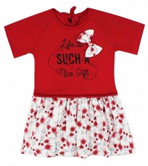Платья Цвет: красный/молочный/ , для девочки, состав: 85%хлопок 15%полиамид