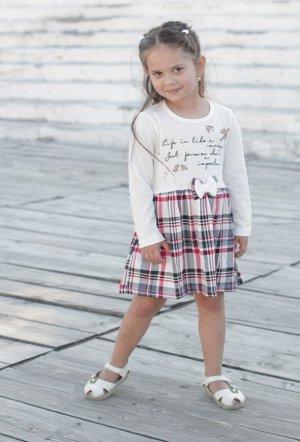 Платья Цвет: молочный/серый/красный/ , для девочки, состав: 85%хлопок 15%полиамид