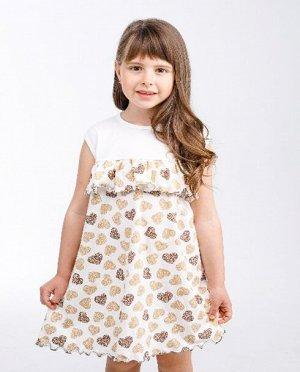 Платья Цвет: молочный/бежевый/ , для девочки, состав: 85%хлопок 15%полиамид