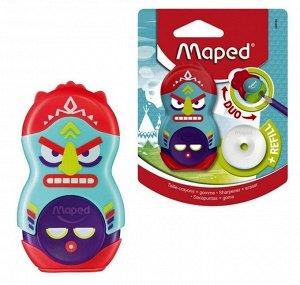 "Maped. Точилка ""Loopy Fancy"" 1 отверстие + ластик, с контейнером и доп. ластиком арт.049130"
