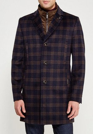 5046-4M CHEK NAVY BROWN/Пальто мужское