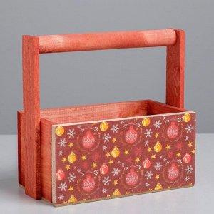 Наборы деревянных  ящиков с ручкой 3 в 1, красный паттерн, 31 х 21 х 26 см