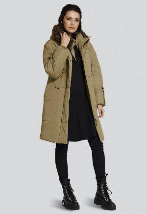 2115 хаки Утепленное зимнее пальто универсальной длины от российского производителя D'imma Fashion Studio. Застежка на молнию, широкий ветрозащитный клапан. Декоративная отделка капюшона искусственным