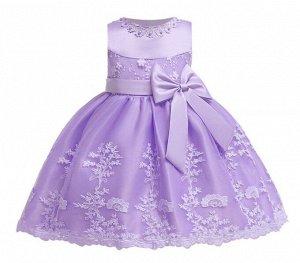 Детское платье, фиолетовое, короткое, с бантом