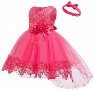 Детское платье, розовое со шлейфом и повязкой для волос
